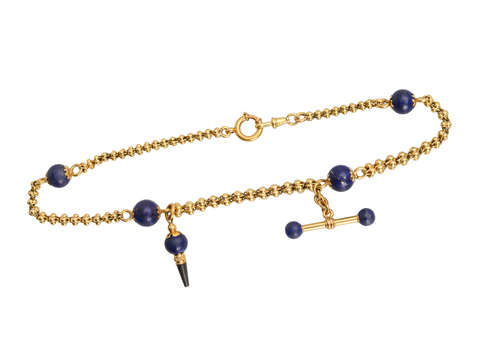 Lapis Gold Watch Chain Necklace with Fobs
