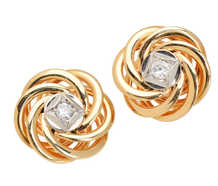 Vintage Diamond Knot Stud Earrings