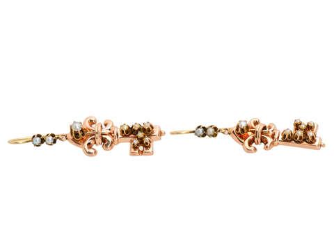 Victorian Antique Pearl Key Motif Earrings