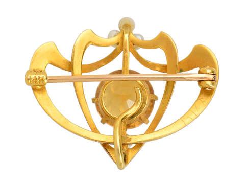 Krementz Art Nouveau Citrine Brooch