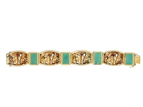 Flamingo Flaunt - Austrian Gold Bracelet