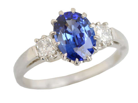 Sapphire Seas - Diamond Platinum Ring