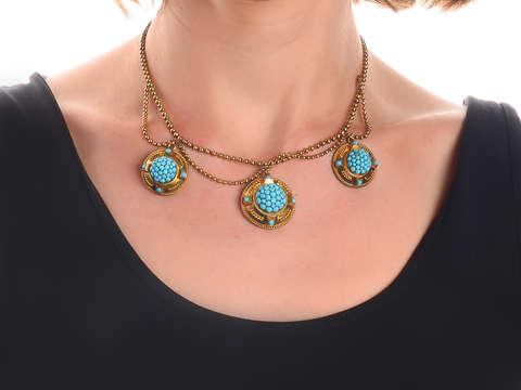 Victorian Pavé Turquoise Locket Necklace