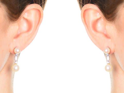 Vintage Pearl Dangle Diamond Earrings