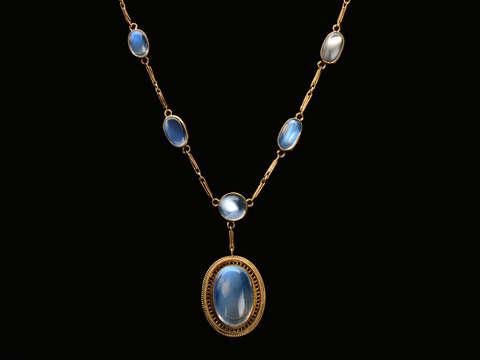 Edwardian Raindrops - Blue Moonstone Necklace