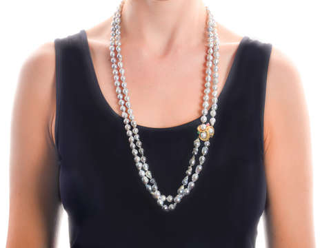 Vintage Double Strand Blue Gray Cultured Pearls
