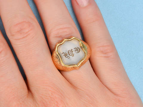 Antique Locket Signet Ring of 1852