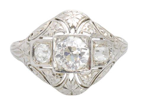 1920s Filigree Diamond Engagement Ring