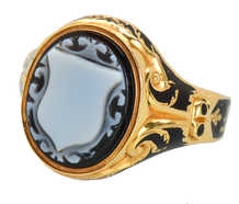 In Memory - Victorian Crest Enamel Ring of 1859