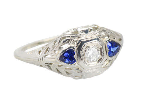 Hearts Afire - Diamond Sapphire Engagement Ring