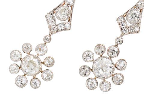 Ultra Edwardian Diamond Dangle Earrings