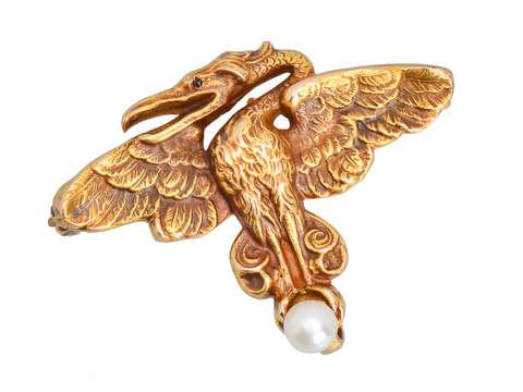Art Nouveau Dragon Brooch Watch Holder