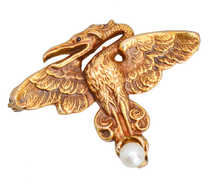 Art Nouveau Dragon Brooch Watch Holder