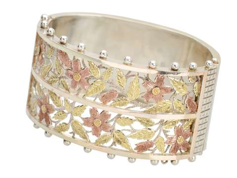 Floral Array - Victorian Silver Bangle of 1880