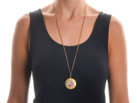 Elaborate Georgian Enamel Locket & Chain