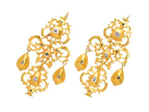 Georgian Early Spanish Diamond & Gold Earrings