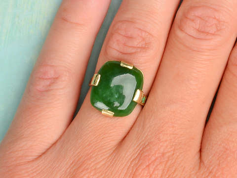 Art Deco Jade & Enamel Ring