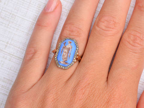19th C. French Enamel Rose Cut Diamond Ring