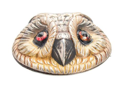 French Sterling Silver Owl Bird Brooch