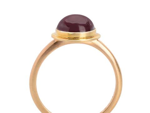 Garnet Cabochon Ring in Gold