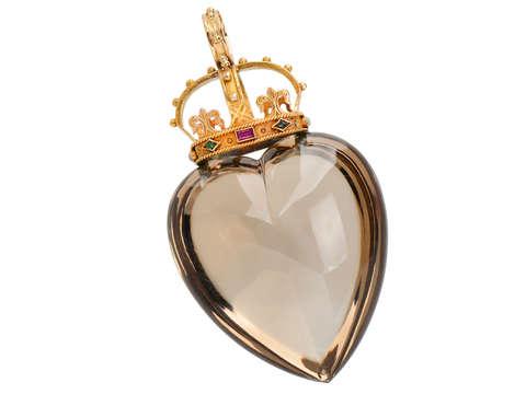 Victorian Smoky Quartz Heart & Crown