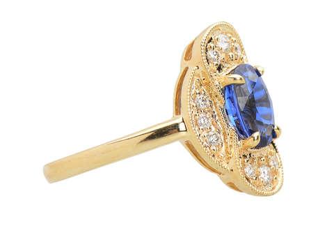 Blue Belle - Vintage Sapphire Diamond Ring