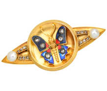 Antique Enamel Diamond Pearl Butterfly Brooch