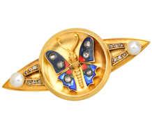 Antique Enamel Diamond Pearl Butterfly Brooch