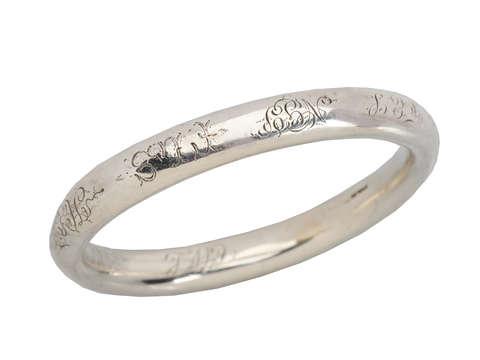 Family Saga - Fully Engraved & Initialed Silver Bangle
