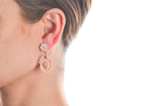 Antique Cameo Cherub Angel Earrings Necklace Set