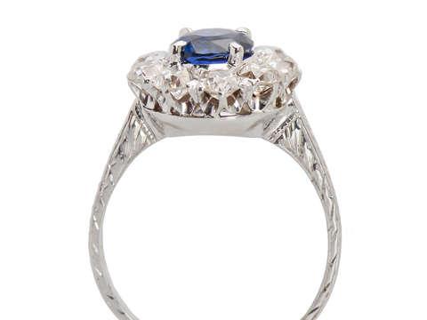 1930s Breathtaking Diamond Sapphire Halo Ring