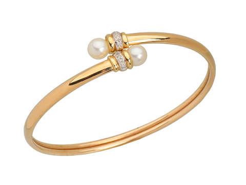Vintage Pearl Diamond Bypass Bracelet