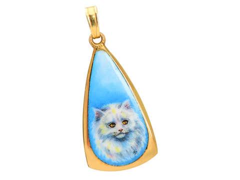 Vintage English Persian Cat Enamel Pendant
