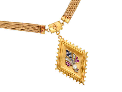 Victorian Gold Sapphire Ruby Diamond Necklace