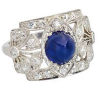 No Heat Sapphire Diamond Flower Ring