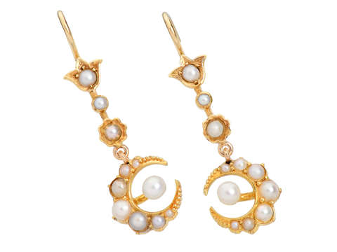 Antique Crescent Moon Natural Pearl Earrings