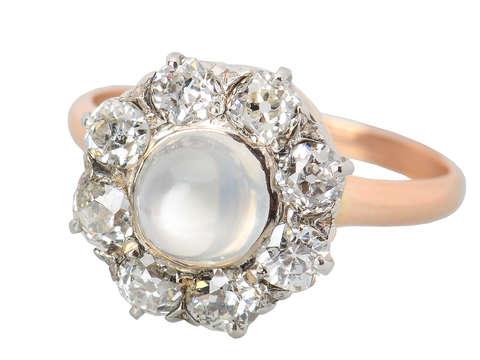 Edwardian Moonstone Diamond Cluster Ring