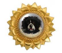Victorian Essex Crystal Dog Brooch Locket