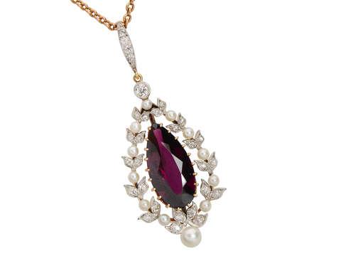 Garnet Grand - Antique Diamond Pearl Pendant & Chain