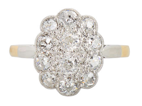 Antique Diamond Scalloped Shaped Ring