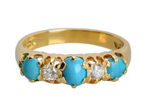 Vintage Five Stone Turquoise Diamond Ring