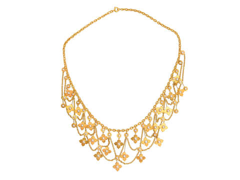 Victorian Gold Natural Pearl Festoon Necklace