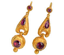Victorian Garnet Dangle Gold Earrings