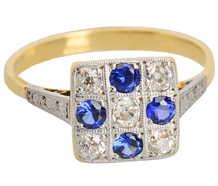 Dichotomy - Sapphire Diamond Edwardian Ring