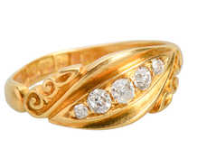 English Edwardian 18k Diamond Ring of 1902