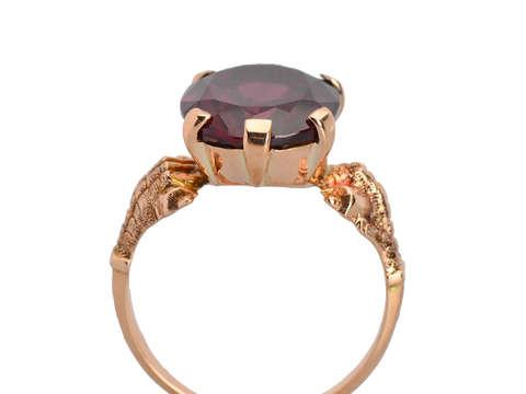 Strength - Garnet Gold Talon Claw Setting Ring