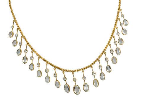 Ethereal Antique Fine Aquamarine Fringe Necklace