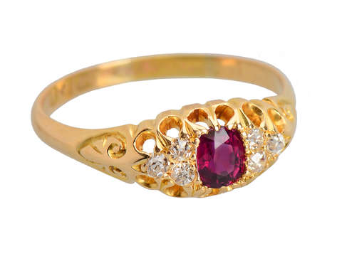 1909 Antique 18k Gold Ruby Diamond Ring