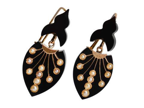Victorian Onyx Pearl Earrings