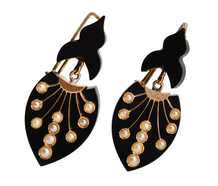 Victorian Onyx Pearl Earrings